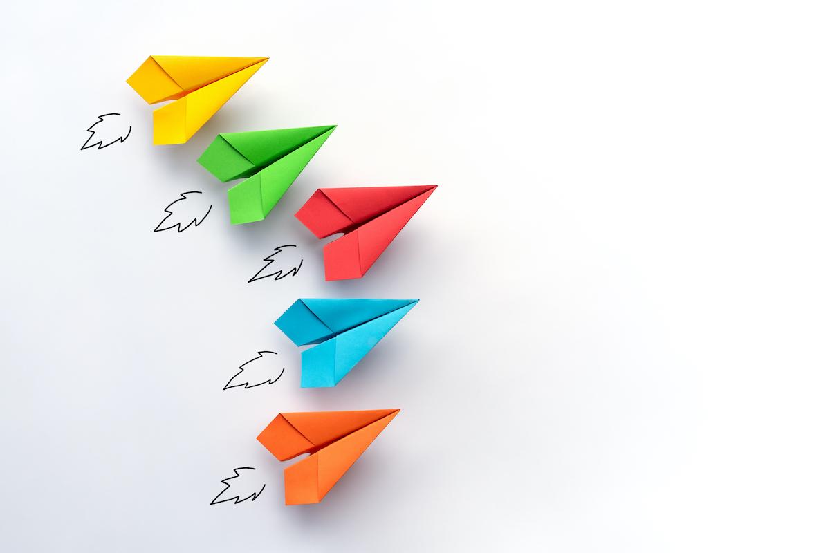colored paper planes