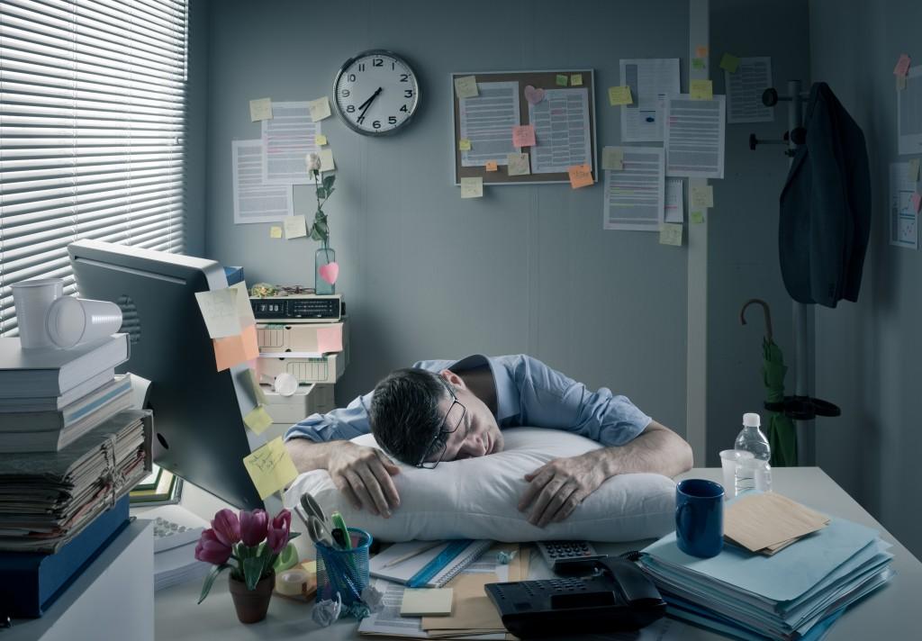man sleeping at home