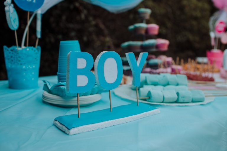 boy sign gender reveal party baby shower