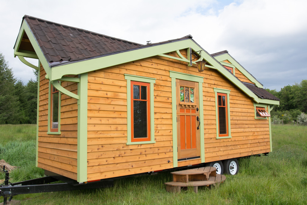 tiny wooden mobile home